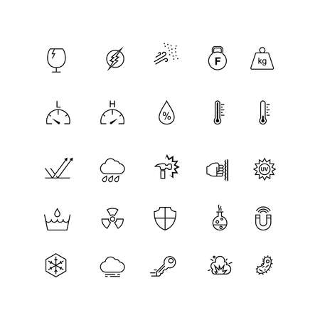 Illustration pour A set of icons for the resistance of a material, such as heat resistance, impact resistance, water proof. Suitable for design elements from information of a product, promotion, and material design. - image libre de droit