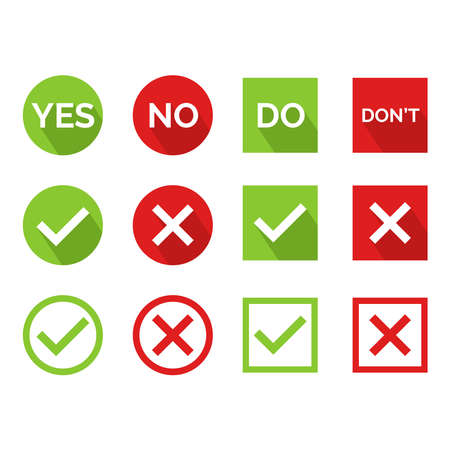 Illustration pour Flat vector illustration of a yes or no icon. Perfect for design element from tips and tricks article, infographic, tutorial, pros and cons and choosing guide. Cross and check icon set. - image libre de droit