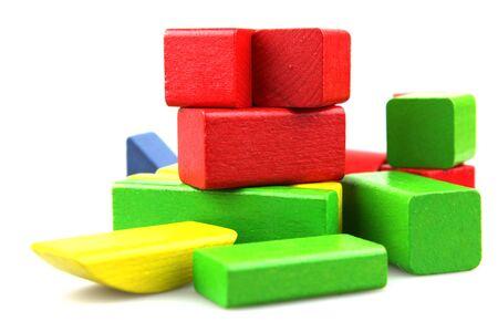Photo pour Wooden building blocks on white background - image libre de droit
