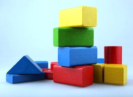 Photo pour Wooden building blocks - image libre de droit