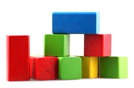 Photo pour Wooden building blocks. - image libre de droit