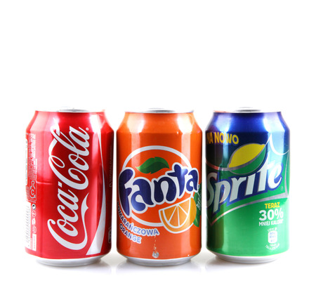 AYTOS, BULGARIA -AUGUST 11, 2015: Global brand of fruit-flavored carbonated soft drinks created by The Coca-Cola Company.