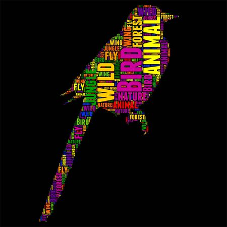 Typography word cloud colorful in Silhouette