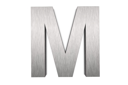 Brushed metal letter M