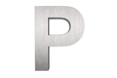 Brushed metal letter P