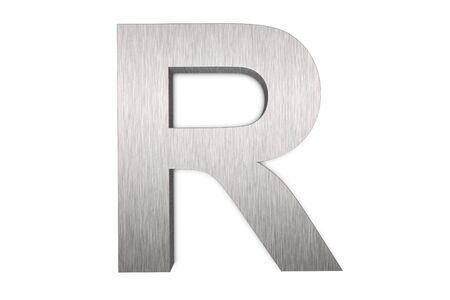 Brushed metal letter R on white background
