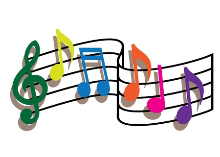 Coloured music notes on the white background