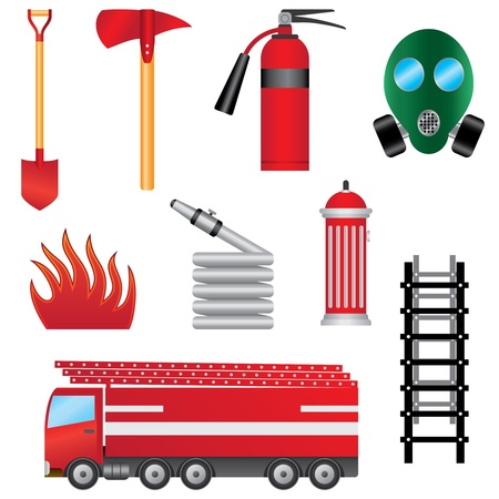 Set of fire prevention objects on the white background.