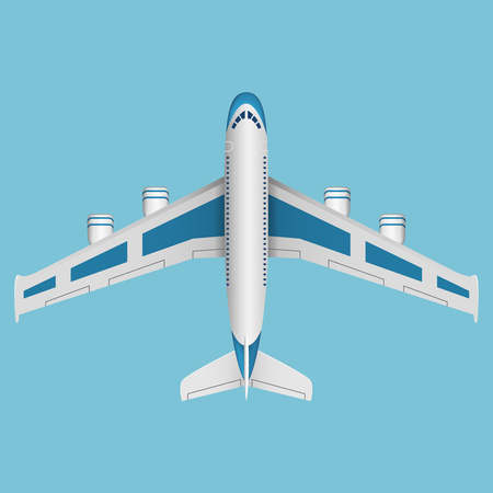Illustration for A vector airplane top view. Vector illustration. - Royalty Free Image