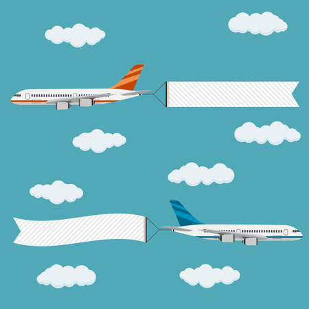 Illustration for Flying planes with banners, template for text, vector illustration. - Royalty Free Image