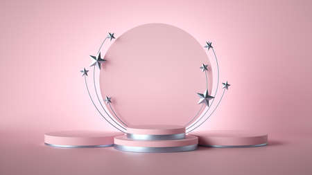 Photo for 3d render. Abstract pink fashion background decorated with silver stars. blank board, round frame, copy space, cylinder steps, empty podium, vacant pedestal, stage. Award template - Royalty Free Image