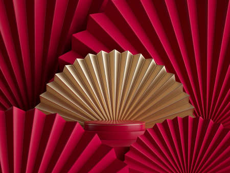 Photo for 3d rendering, abstract red gold background with empty pedestal, fashion podium, round stage. Blank showcase template for product display decorated with folded paper fans - Royalty Free Image
