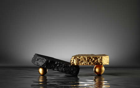 Photo for 3d render, abstract modern minimal background with black and gold cobblestones, golden balls and reflection in the water. Showcase for black friday sale with empty platform for product displaying - Royalty Free Image