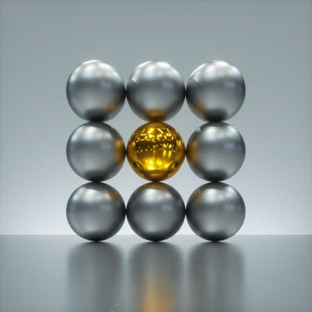 Photo for 3d render, abstract modern minimal background, one glossy gold ball in the middle of square matrix of silver metallic balls. One of a kind concept. Geometric primitive shapes, assorted spheres - Royalty Free Image