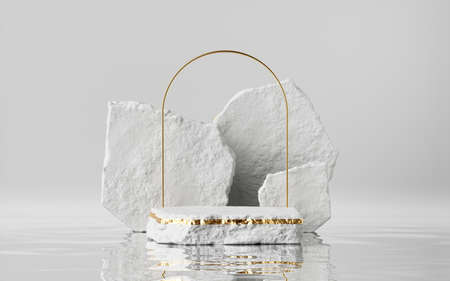 Photo for 3d render, abstract modern minimal background with cobblestones and reflection in the water on the wet floor. Trendy showcase with golden arch frame and empty platform for product displaying - Royalty Free Image
