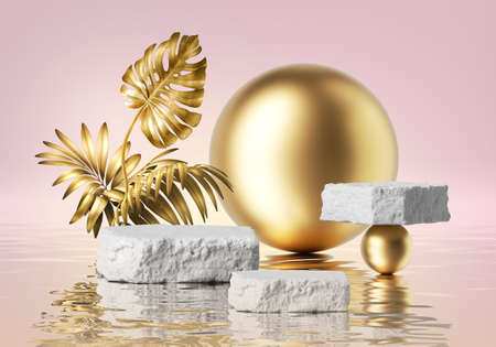 Photo pour 3d render, pink background with white cobblestone podiums and golden tropical leaves, gold balls and reflection in the water. Empty stage. Blank showcase scene for product presentation - image libre de droit