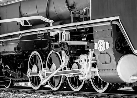 Detail of Steam Locomotive in Black White