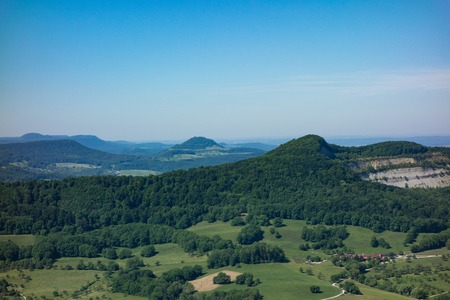 This is the view from the viewpoint of the Burg Hohenneuffen on a summer day
