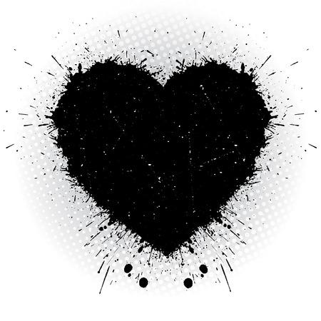Black ink heart. Abstract vector illustration.