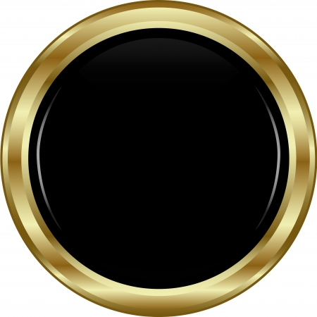 Black gold button. Abstract vector illustration.