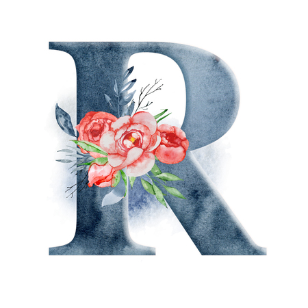 Floral watercolor alphabet. Monogram initial letter R design with hand drawn peony flower for wedding invitation, cards.
