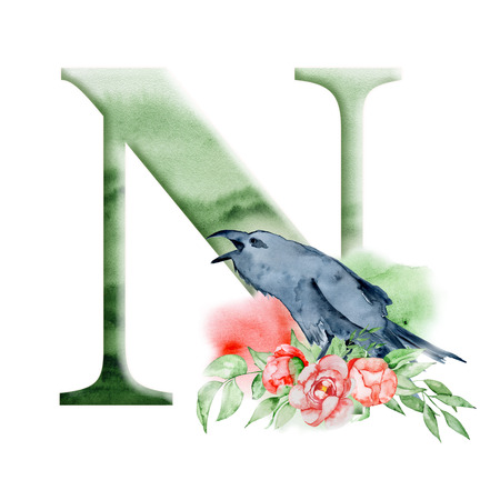 Floral watercolor alphabet. Monogram initial letter N design with hand drawn Raven, crow and flower peonies bouquet for wedding invitation, cards.