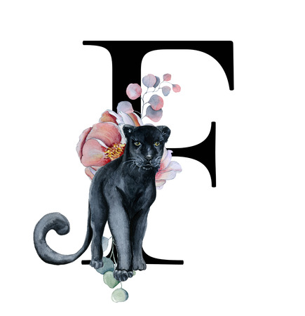 Floral watercolor alphabet. Monogram initial letter F design with hand drawn peony and anemone flower  and black panther for wedding invitation, cards, logos