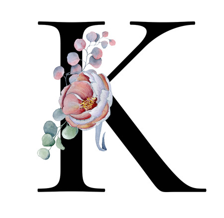 Floral watercolor alphabet. Monogram initial letter K design with hand drawn peony and anemone flower  and black panther for wedding invitation, cards, logos