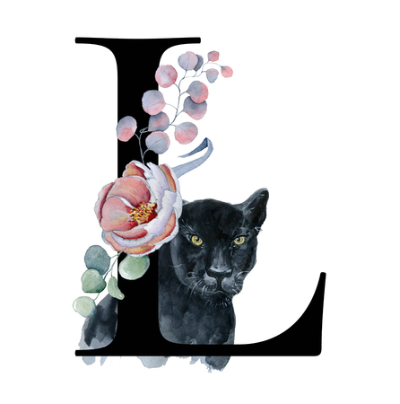 Floral watercolor alphabet. Monogram initial letter L design with hand drawn peony and anemone flower  and black panther for wedding invitation, cards, logos