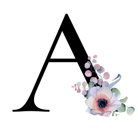 Foto de Floral watercolor alphabet. Monogram initial letter A design with hand drawn peony and anemone flower  and black panther for wedding invitation, cards, logos - Imagen libre de derechos