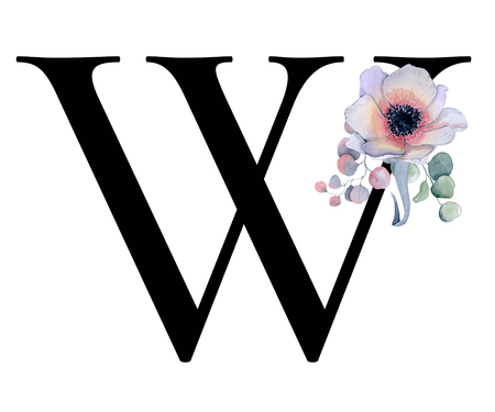 Floral watercolor alphabet. Monogram initial letter W design with hand drawn peony and anemone flower  and black panther for wedding invitation, cards, logos