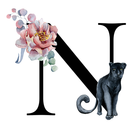 Foto de Floral watercolor alphabet. Monogram initial letter N design with hand drawn peony and anemone flower  and black panther for wedding invitation, cards, logos - Imagen libre de derechos