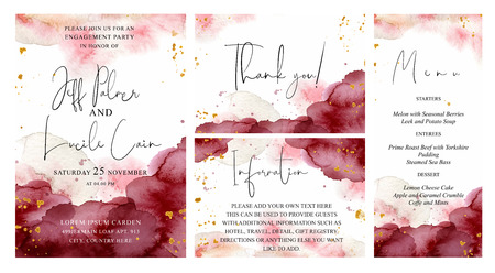 Ilustración de Burgundy, pink and gold wedding set with  hand drawn watercolor background. Includes Invintation, menu, information and thank you cards templates. Vector set - Imagen libre de derechos
