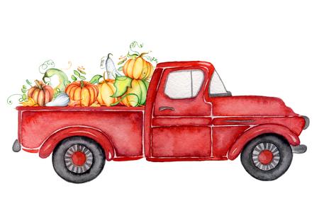 Foto de Red harvest truck with pumpkins Thanksgiving hand drawn watercolor illustration - Imagen libre de derechos