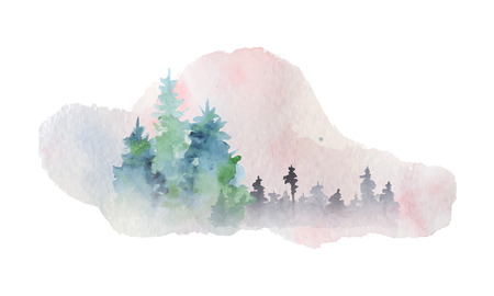 Illustration pour Watercolor abstract silhouette of a forest with pine trees  hand paited vector illustration - image libre de droit