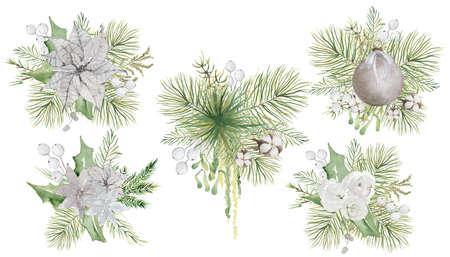 Photo pour Watercolor Christmas floral bouquets with flowers and pine tree branches decor set - image libre de droit