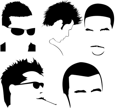 vector collection of men's different haircuts