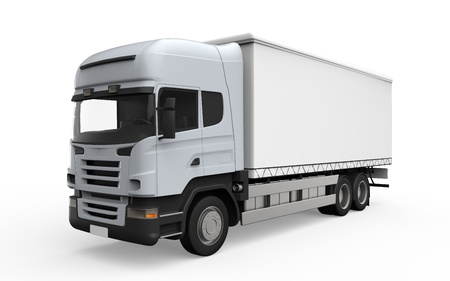 Photo for Cargo Delivery Truck Isolated on White Background  - Royalty Free Image