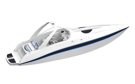 White Speedboat Isolated on White Background