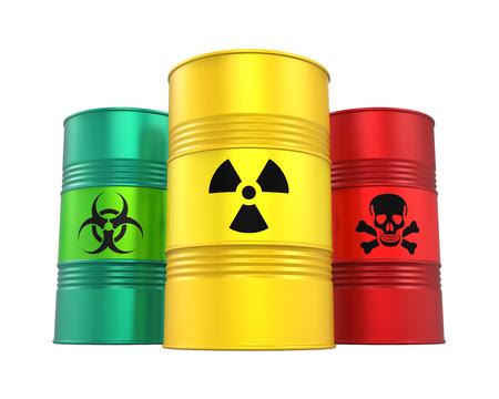 Foto de Biohazard, Radioactive and Poisonous Barrels Isolated - Imagen libre de derechos