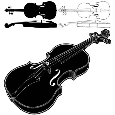 Foto für Violin Vector. Illustration Isolated On White Background. A Vector Illustration Of Classical Violin Background - Lizenzfreies Bild