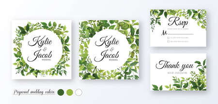 Illustration pour Wedding Invitation, thank you, rsvp card. Floral design with green watercolor fern leaves, foliage greenery decorative frame print. Vector elegant cute rustic greeting, invite, postcard - image libre de droit