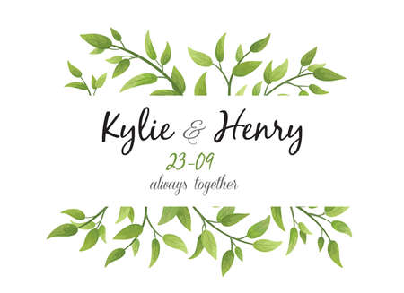 Illustration pour Wedding Invitation, save the date card floral Design with green watercolor fern leaves, foliage greenery decorative frame print. Vector elegant cute rustic greeting, invite, postcard - image libre de droit