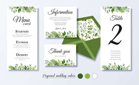 Illustration pour Wedding menu card, information, thank you, table number, Floral design with green watercolor leaves, white flower, foliage greenery decorative frame print. Vector elegant cute rustic greeting, invite - image libre de droit