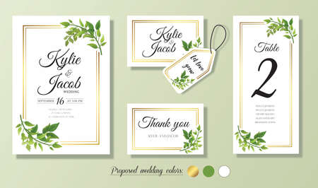Illustration pour Wedding Invitation, menu, thank you, label, table number card. Floral design with green & gold watercolor leaves decorative frame print. Vector elegant cute rustic greeting, invite, postcard - image libre de droit
