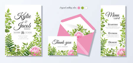Illustration pour Wedding invite, personal menu, thank you, table number card design set with elegant pink peony flowers, natural branches, green leaves, herbs. Romantic rustic set. Vector decorative elegant. - image libre de droit