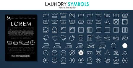 Illustration pour Laundry icons set. Outline set of white laundry symbols vector icons isolated on black background - image libre de droit