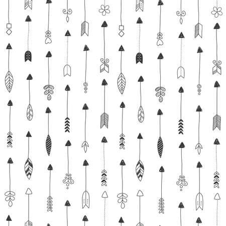 Illustration pour Vector seamless pattern, repeating abstract Indian arrows. Light modern simple wallpaper monochrome graphic element. Clean design for fabric, wallpaper, background. - image libre de droit