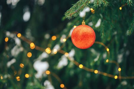 Photo for Christmas balls on tree outdoor - Royalty Free Image