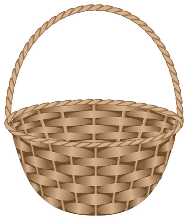 Brown weaved basket. Vector illustration, isolated on a white
